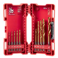 Milwaukee® Twist Drill Bit Kit, 10 Pieces, Hexagonal Shank, High Speed Steel, Titanium Coated