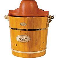 Nostalgia Vintage ICMW400 Ice Cream Maker, 120 V, 50 W, 4 qt Storage, Wood
