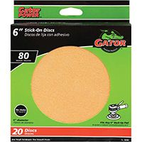Gator 3245 Stick-On Sanding Disc, 80-Grit, Medium Grade, Aluminum Oxide, 6 in Dia, For 6 in Dia Sander Pads