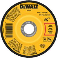 DeWALT DW4541 High Performance, Type 27 Grinding Wheel, 7/8 in Arbor, 24-Grit, Aluminum Oxide, 4-1/2 in Dia
