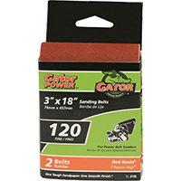 Gator 3149 Sanding Belt, 120-Grit, Fine, 18 in L, 3 in W, Aluminum Oxide