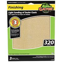 Gator 7267 Sanding Sheet, 320-Grit, Very Fine, Aluminum Oxide