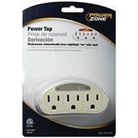 PowerZone Outlet Tap, 125 V, 15 A, 3 Outlet, White