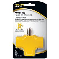 PowerZone Grounded Outlet Tap, 3 Outlet, Yellow