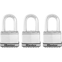 Master Lock Magnum M5XTRILF Keyed Padlock, 2 in W Body, 1-1/2 in H Shackle, Stainless Steel