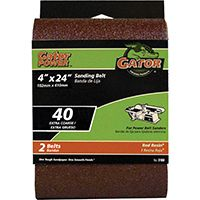 Gator 3188 Sanding Belt, 40-Grit, Extra Coarse, 24 in L, 4 in W, Aluminum Oxide