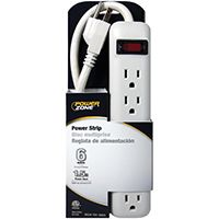 PowerZone Power Outlet Strip, 125 V, 15 A, 6 Outlet