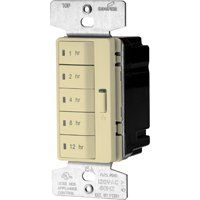 Eaton Wiring Devices PT18H-V-K Programmable Hour Timer, 15 A, 120 V, 1, 2, 4, 8, 12 hr Off Time Setting, Ivory