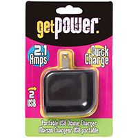 GetPower GP-AC2USB-BLK USB to AC Home Adapter, 2.4 A Charging, Black