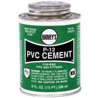HARVEY P-12 Series 018210-24 Solvent Cement, Clear, 8 oz Can