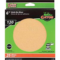 Gator 3243 Stick-On Sanding Disc, 120-Grit, Fine Grade, Aluminum Oxide, 6 in Dia, For 6 in Dia Sander Pads