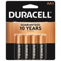 Duracell COPPERTOP MN1500 Series MN1500B4Z Alkaline Battery, AA, Manganese Dioxide, 1.5 V