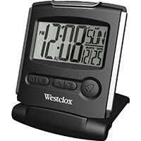 Westclox 72028 Compact Folding Alarm Clock, 1/2 in Display, LCD Display, CR2032 Lithium Battery