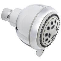 Plumb Pak K701CP Fixed, Round Showerhead, 1.8 gpm, 5 Spray Functions, 3.35 in Head diameter, Metal/Plastic