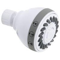 Plumb Pak K704WH Showerhead, 1.8 gpm, 3 Spray Functions, 2.7 in Head diameter, Metal/Plastic, White