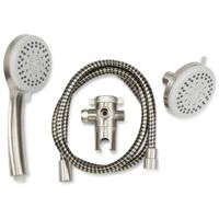 Plumb Pak K751BN 3-Way, Round Showerhead Kit, 1.8 gpm, 5 Spray Functions, 3.85 in Head diameter, Metal/Plastic