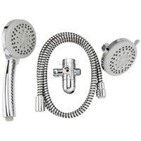 Plumb Pak K751CP 3-Way, Round Showerhead Kit, 1.8 gpm, 5 Spray Functions, 3.85 in Head diameter, Metal/Plastic