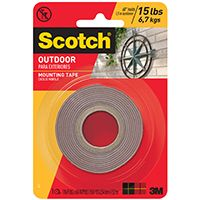 Scotch 411DC Mounting Tape, 60 in L, 1 in W, Black