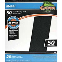 Gator 3292 Sanding Sheet, 50-Grit, Cloth Backing, Emery