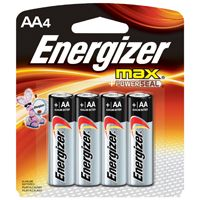Energizer E91 Series E91BP-4 Alkaline Battery, AA, Zinc, Manganese Dioxide, 1.5 V