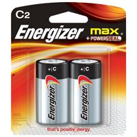 Energizer E93BP-2 Alkaline Battery, C, Zinc, Manganese Dioxide, 1.5 V