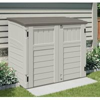 Suncast Stow-Away BMS2500 Storage Shed, 34 cu-ft Capacity, 46-1/4 in W x 40-1/4 in H Door, Padlockable Door, Resin
