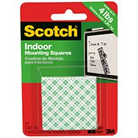 Scotch 111 Permanent Mounting Square, 1 in L, 1 in W, White