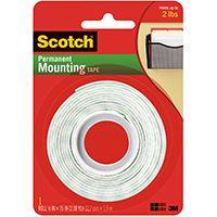 Scotch 110 Heavy-Duty Mounting Tape, 75 in L, 1 in W, White