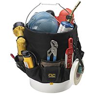 CLC Tool Works 1119 Bucket Tool Organizer, 48-Compartment, Polyester Fabric, Black/Khaki