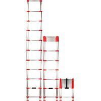 XTEND+CLIMB Home Series 760P Telescoping Ladder, 225 lb Weight Capacity, 11-Step, Aluminum Alloy, Red/Silver
