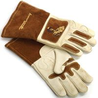 ForneyHide 53410 Welding Gloves, L, Gauntlet Cuff, Reinforced Crotch Thumb, 12-5/8 in L, Brown/White