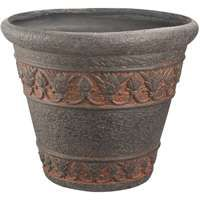 Landscapers Select Handcrafted Pottery Planter, Round Pattern, 13 In/33 Cm Dia X 10-1/2 In H, Aged Bronze