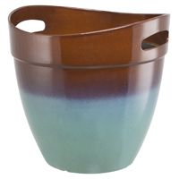 PLANTER RSN W/HNDL TEAL 12IN