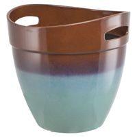 PLANTER RSN W/HNDL TEAL 15IN
