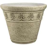 Landscapers Select Handcrafted Pottery Planter, Round Pattern, 16 In/40.6 Cm Dia X 13 In H, Moss Green