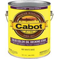 Cabot 1601 Decking Stain, White, Opaque, 1 gal