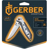 GERBER 31-001759 Folding Knife, 2-1/2 in L Blade, 1-Blade, Soft-Grip Black/Silver Handle