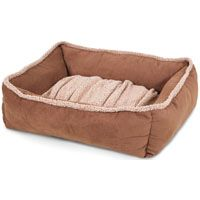 Aspenpet 80387 Shearling Pet Lounger, Rectangular, Suede Fabric Cover, Dark Tan