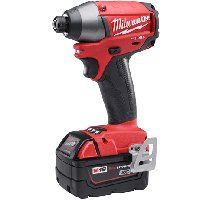 Milwaukee 2753-22 Impact Driver Kit, 18 V Battery, 1/4 in Drive, 4-Speed, Black/Red