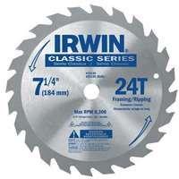 IRWIN 25130 Circular Saw Blade, 7-1/4 in Dia, Carbide Cutting Edge, 5/8 in Arbor, Carbide