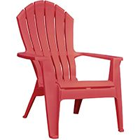 Adams RealComfort 8371-26-3700 Adirondack Chair, 250 lb Weight Capacity, Polypropylene Frame, Cherry Red Frame