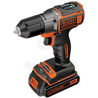 Black+Decker BDCDE120C Drill/Driver, 20 V Battery, Lithium-Ion Battery, 3/8 in Chuck