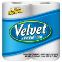 Velvet 096071 Bathroom Tissue, 2-Ply, 150 Roll
