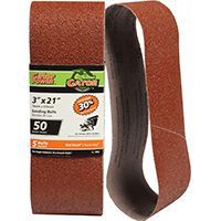 Gator 7012 Sanding Belt, 50-Grit, Coarse, 21 in L, 3 in W, Aluminum Oxide
