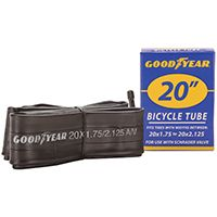Kent 91077 Bicycle Tube, Butyl Rubber, Black, For 20 x 1-3/4 to 2-1/8 in W Bicycle Tires
