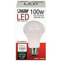 Feit Electric A1600/827/10KLED LED Lamp, 120 V, 14.5 W, Medium E26, A19 Lamp, Soft White Light