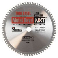 MORSE CSM72568NTSC Circular Saw Blade, 7-1/4 in Dia, Tungsten Carbide Cutting Edge, 5/8 in Arbor