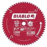 Diablo D0760A Circular Saw Blade, 7-1/4 in Dia, Carbide Cutting Edge, 5/8 in Arbor, Steel