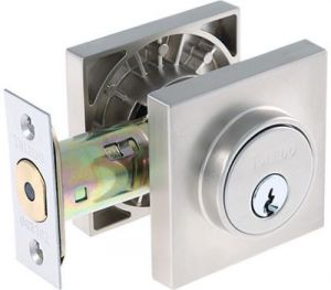 Double Cylinder Deadbolt Square Rosette Stainless Steel